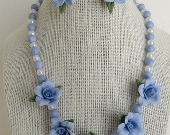 Cold Porcelain Necklace and Earring Set Blue Flowers Handmade Gift for Her