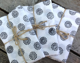 Pillowcases, White and black, Cotton Pillowcases, Handmade, Indian Prints, Bedding, Handmade Pillowcases