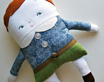 Brown Hair Two-Faced Friend Flip Boy Doll Dressed in Liberty Of London Fabrics