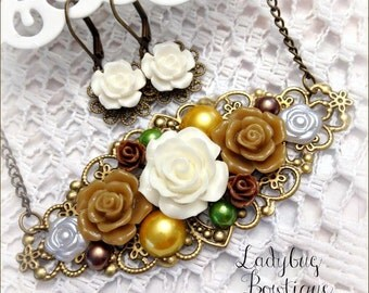 Ladies Vintage Style Floral Filigree Necklace and Earrings Set ~ Autumn Bouquet ~ Antique Bronze Pearls Resin Flowers Golden Yellow Ivory