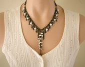 Dark Gunmetal Cascading Necklace, Dangling Chain Necklace, Dangling Pearls, Leaf Necklace, Dangling Chains, Mother's Day, Pearl Necklace