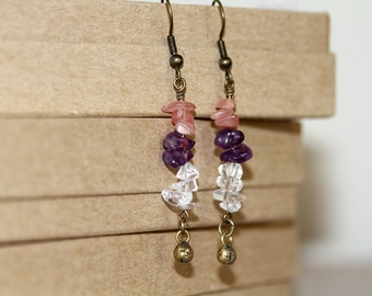 Peach, Amethyst and Clear Gemstone Chip Antiqued Brass Dangling Earrings