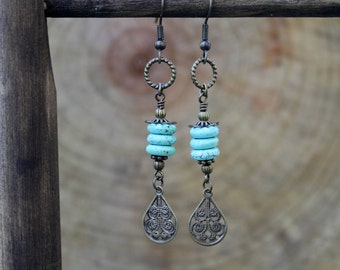 Turquoise and Antiqued Brass Long Dangling Boho Style Earrings