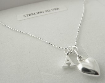 Personalised sterling silver initial letter necklace with silver heart