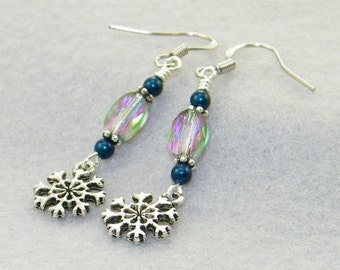 Snowflakes and swarovski crystal handmade dangle earrings, Christmas earrings, Winter earrings, Stocking stuffers, Whimsical Jewelry