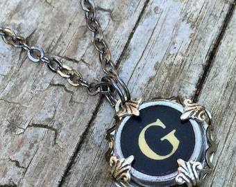 Letter G  Vintage Typewriter Key Wrap Necklace