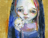 Madonna and Child - mixed media art print by Mindy Lacefield