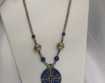 Afghan Lapis necklace, Afghan pendant, Afghan jewelry, Kuchi jewelry, Lapis pendant, Lapis necklace