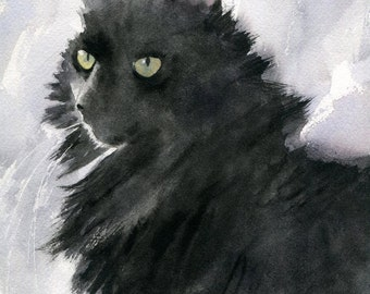 Original Black Cat Art Painting Watercolor Long hair