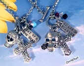 Day of The Dead Charm Necklace Los Muertos Skull Rose Cross Sugar Skull Halloween Jewelry Crystals 316 Steel Rolo Chain Personalized