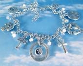 Believe Silver Charms Bracelet Om Karma Hamsa Tree of Life Labyrinth Cross Celtic Coexist Ancient Religions Symbols Mystical Mystery Spirit