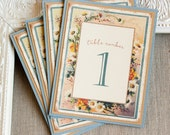Vintage Daisy Frame Wedding Reception Table Numbers - floral table markers - spring wedding - garden wedding - country wedding - botanical