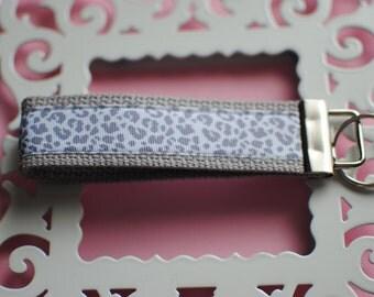 Grey Leopard Key Fob