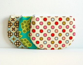 Coin Purse, Small Zipper Pouch, Choice of Colors, Women and Teens, Sandi Henderson Ginger Blossom Fabrics