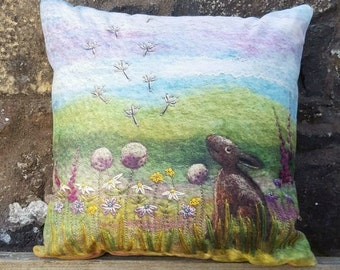Cushion Digitally Printed Hare Among the Wildflowers.