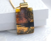 Golden Sunset Refection Tree Dichroic Fused Glass Pendant Necklace Jewelry Gold Necklace 001186