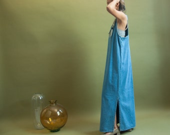 denim maxi dress / jean dress / vintage 80s dress / s / m / 163d / B7