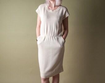 ST JOHN cream knit dress / dolman sleeve dress / petite dress / s / 1690d