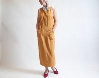 salt lake sunday silk tank dress / italian jumper dress / halter dress / s / 1443d