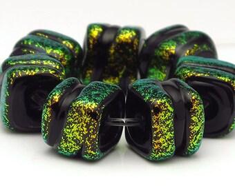 Handmade Lampwork Bead Set Dichroic Green and Gold Cubes SRA