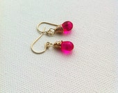 Hot Pink Petite Tear drop Wire Wrapped 14k Goldfilled Dangle Earrings UK Seller Contemporay Jewellery Wedding Bridesmaid Earrings