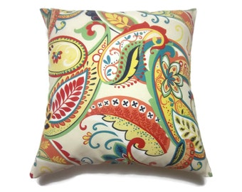 Decorative Pillow Cover Multicolored Paisley Same Fabric Front/Back Red Orange Turquoise Navy Lime Green Yellow White  Throw 18x18 inch x