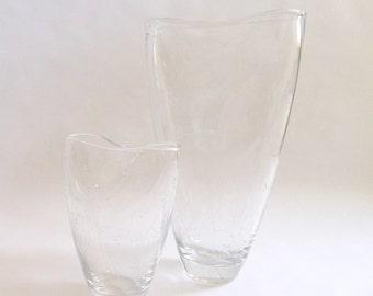 SUMMER SALE Modernist Vicke Lindstrand for Kosta Engraved Vase Pair