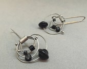 black dangle earrings kinetic earrings oxidized sterling sculptural statement earrings whimisical neutral