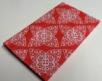 Checkbook Cover Case Cheque Coupons Money Holder - Lace Spice Impression Fabric