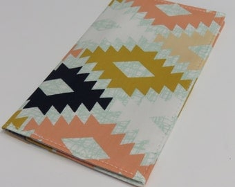 Checkbook Cover - Agave Field - April Rhodes Fabric - Aztec - Tribal - Mint Green - Navy - Peach
