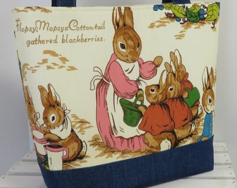 Tote Bag | Handbag | Diaper Bag | Peter Rabbit Beatrix Potter Vintage Fabric