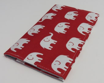 SAMPLE SALE - Checkbook Cover - White Elephants on Red Fabric