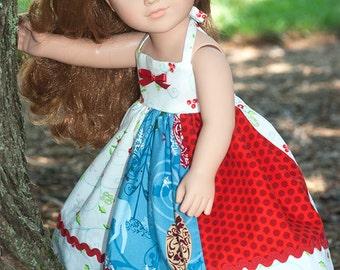 "18"" Doll dress Christmas dress girl doll dress white red blue Christmas apron Twirl dress set 18"" doll dress American handmade holiday gift"