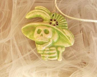 Dios de la meurte Day of The Dead Green Ceramic Pendant Necklace Jewelry  Sugar skull