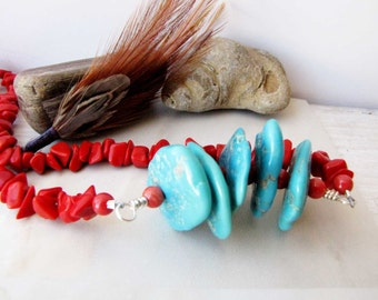 Coral Turquoise Necklace Turquoise Beaded Wire Wrapped  Sleeping Beauty Turquoise Jewelry handmade jewelry  Southwestern Jewelry 77