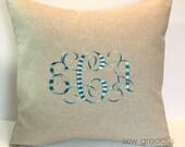 Custom Monogram Decorative Pillow Cover 18 x 18. VARIEGATED OMBRE Thread. Modern Home & Living Decor. Farmhouse Chic Gift. SewGracious