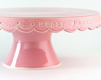 Personalized Wedding Cake Stand with Stitch Detail - 10 inch - color options