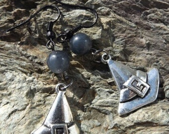 SALE!!! Silver Witch Hats And Gray Tourmaline Ear Ornaments