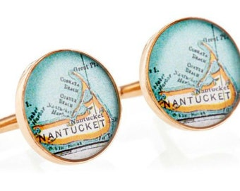 Nantucket Island Cufflinks  Bronze Antique Map Vintage Globe Cuff Links Gift for Him Dad, Groom or Groomsmen