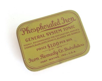 Phosphorated Iron advertising compact tin - vintage ~ Pink Room ~ 160912