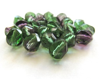 Round Translucent Tourmaline Green and Amethyst Purple Spiral Cut Faceted Glass Beads, 8mm - 25 pieces