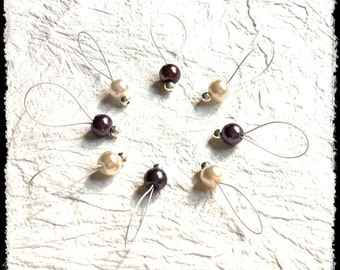 Snag Free Stitch Markers Large Set of 8 - Dark Purple and Pink/Ivory Glass Pearls - N21 - Fits up to size US 17 (12.75) Knitting Needle