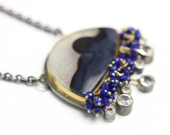 Agate Landscape Pendant with Topaz Rays and Lapis Fringe