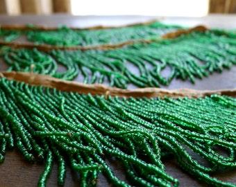 """1920s Green Bead Fringe 42"""" total length"""