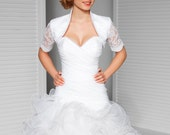 Diana Satin Bridal Bolero with Lace Sleeves, Satin Wedding Bolero, Bridal Jacket