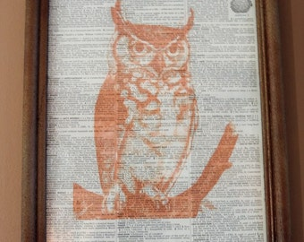Framed Vintage Orange Owl Upcycled Dictionary Book Page, Book Page, Fall Decor