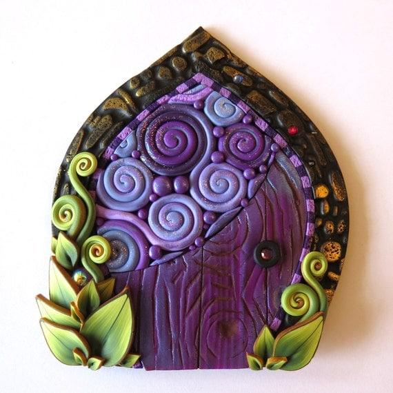Purple daydream fairy door miniature pixie portal home and for Purple fairy door