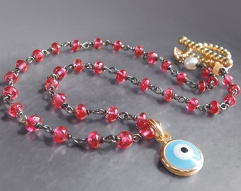 ON SALE 15% OFF Custom Made to Order - Evil Eye Bracelet with Red Spinel - 14k Solid Yellow Gold and Enamel Charm