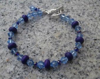 Purple And Light Blue Crystal Bracelet