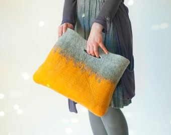 SMALLER Reversible Mustard Sturdy Everyday Art Bag / Carryall / Tote / Basket / Shopping / Market / Picnic / Hand felted wool / Wearable Art